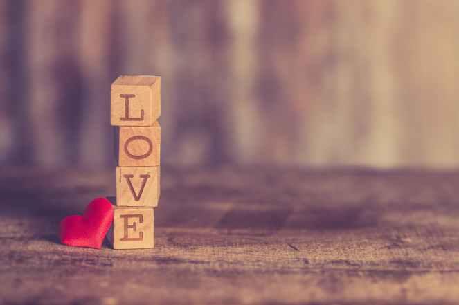 stack of love wooden blocks