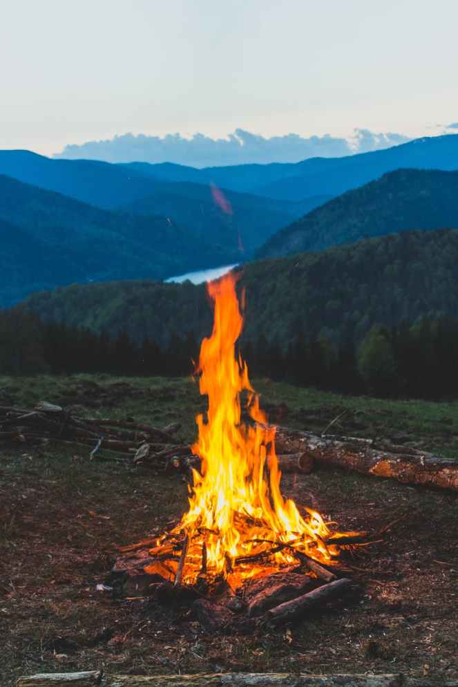 bonfire near grass field during dawn